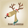 Vector illustration reindeer merry christmas card hipster Royalty Free Stock Image