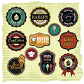 Vector illustration retro grunge food labels badges Stock Photo