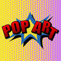 Vector illustration in a retro pop art style. POP ART text on a dot colored background.