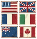 Vector illustration of retro tin signs with state flags set vintage metal textured grungy backgrounds Royalty Free Stock Image