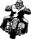 Rider on Motorcycle Vector Illustration Royalty Free Stock Photo