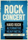 Vector illustration rock concert retro poster design template on old paper texture