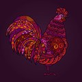 Vector illustration of rooster in red tones. Symbol 2017 on the Chinese calendar. Happy New Year. EPS10
