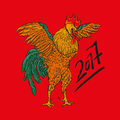 Vector illustration of rooster, symbol 2017 on the Chinese calendar. element for New Year design.