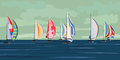 Vector illustration of sailing yacht regatta. Stock Photos