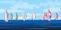 Vector illustration of sailing yacht regatta.