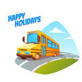 Vector illustration of school bus on background Royalty Free Stock Photo