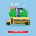 Vector illustration of school bus in flat style