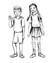 Vector illustration of school children, boy and girl.