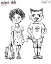Vector illustration of school children, bully boy and girl.