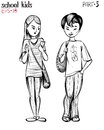 Vector illustration of school teens, boy and girl.