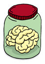 Vector illustration of science brain in a jar Royalty Free Stock Photo