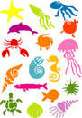 Vector illustration of sea creatures silhouettes Royalty Free Stock Photo