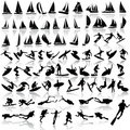 Vector illustration of sea sport, yachts, surfing, Royalty Free Stock Photos
