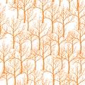 Vector illustration of seamless abstract orange tree pattern