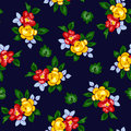 Vector illustration of seamless beautiful red and yellow flowers pattern on dark background