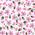 Vector illustration of seamless blossom pattern.
