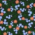 Vector illustration of seamless flower pattern on black background