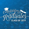 Vector illustration on seamless graduations background congratulations graduates 2019 class of, white sign for the