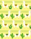 Vector illustration of seamless pattern with alpaca and llamas, funny lama and cactus colorful pattern for textile in