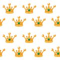 Vector illustration. Seamless pattern of crowns. Gold Crowns with gems. Art Design Cartoon
