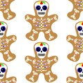 Vector illustration. Seamless pattern. Gingerbread man decorated colored icing. Holiday cookie in shape of man. Day of