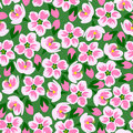 Vector illustration of seamless pink blossom pattern on green background.