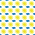Vector illustration seamless positive pattern, bright, joyful, smiling sun with yellow rays and blue cloud on white background Royalty Free Stock Photo