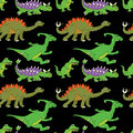 Vector illustration of a seamless repeating pattern of dinosaurs