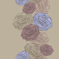 Vector illustration. Seamless wallpaper with blue and pink roses Royalty Free Stock Photo
