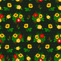 Vector illustration of seamless yellow and red flowers pattern