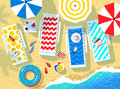 Vector illustration of seaside accessories and sea surf