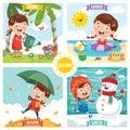 Vector Illustration Of Seasons Royalty Free Stock Photo