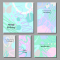 Vector illustration set of artistic colorful universal cards. Brush textures.