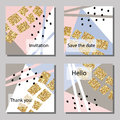 Vector illustration set of artistic colorful universal cards. Wedding, anniversary, birthday, holiday, party. Royalty Free Stock Photo
