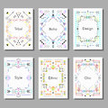 Vector illustration set of artistic colorful universal cards Royalty Free Stock Photo