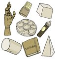 Vector illustration set of assorted artist tools in soft warm grey and brown color, palette, wooden arm, paint bottle, gypsum