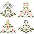 Vector illustration set blooming plant with flowers and leaf Royalty Free Stock Photo