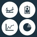 Vector Illustration Set Business Icons. Elements Dollar coin and euro balance, card id, diagram up and Graph pie icon
