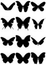Vector illustration set of butterfly silhouettes. Royalty Free Stock Photography