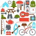 Vector illustration set camping equipment symbols and icons in flat cartoon style.