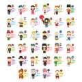 Set of cartoon characters saying hello and welcome in 34 languages spoken in Europe