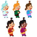 stock image of  Vector illustration set of characters girl with emotions with two tails in a sweater and a skirt