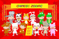 Vector illustration set characters of kid in Chinese zodiac animal doll icons Royalty Free Stock Photo