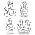 Vector illustration of a set of chef team.