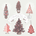 Vector illustration set with christmas trees Royalty Free Stock Photo