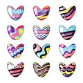 Vector illustration. Set of cute hearts painted in rainbow colors isolated on white background.