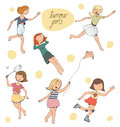 Vector illustration, set of cute young girls