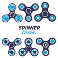 Vector illustration of set of different fidget spinners.