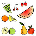 Vector illustration set of a different fruits hand drawn objects Royalty Free Stock Photography